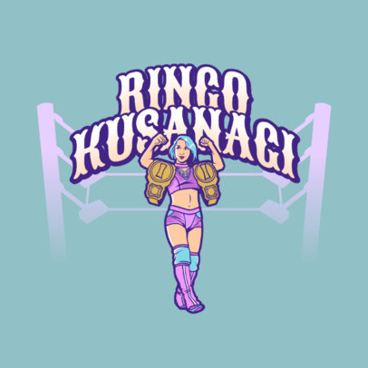 Wrestling Logo Maker Featuring a Female Champion 3608d