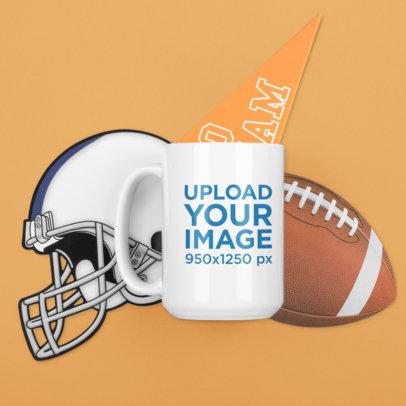 Mockup of a 15 oz Coffee Mug Featuring Football Ornaments M368