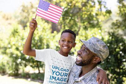 Patriotic T-Shirt Mockup Featuring a Boy with His Dad 41831-r-el2