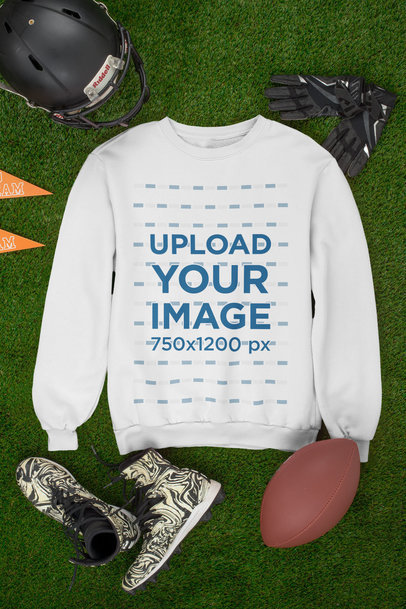 Mockup of a Round Neck Sweatshirt Featuring Football Equipment m360