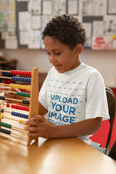 T-Shirt Mockup Featuring a Boy with an Abacus at School 44249-r-el2