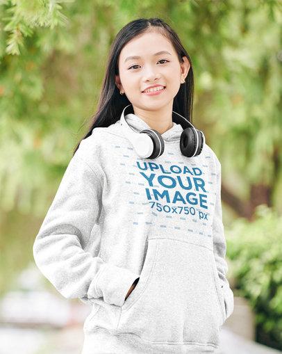 Mockup of a Smiling Teenager Wearing a Heathered Hoodie 44343-r-el2