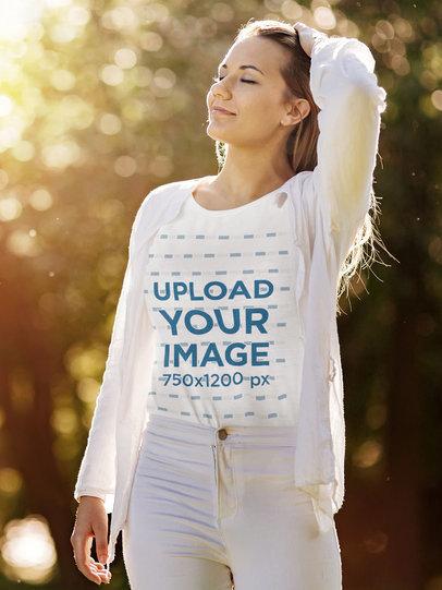 T-Shirt Mockup Featuring a Woman Enjoying an Autumn Day 40674-r-el2
