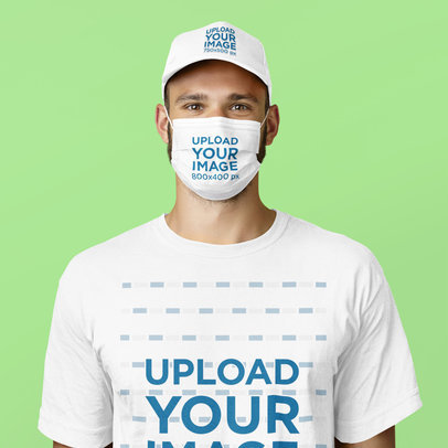Dad Hat and Face Mask Mockup of a Man Wearing a T-Shirt 44182-r-el2