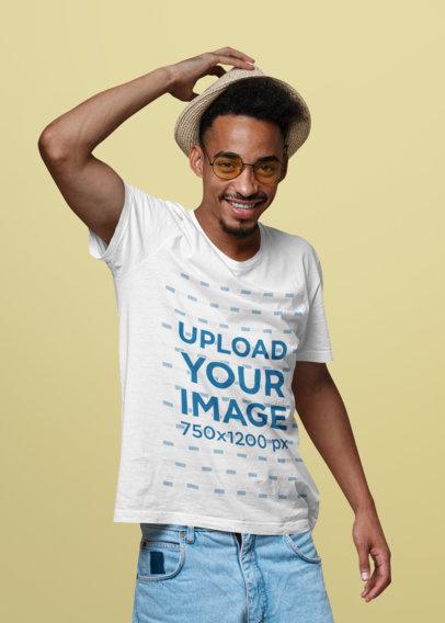 T-Shirt Mockup of a Smiling Man with Retro Sunglasses 41384-r-el2