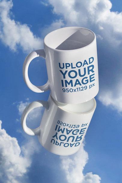 11 oz Mug Mockup Featuring a Cloudy Sky m598