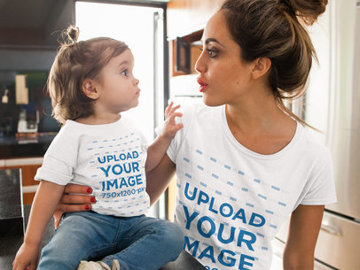 T-Shirt Mockup of a Woman and Her Baby Girl Making Faces at Each Other 16093a