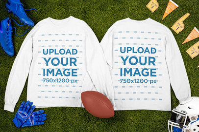 Mockup of Two Long Sleeve T-Shirts Placed by Football Garments m326