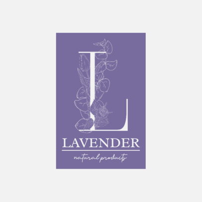 Monogram Logo Template Featuring a Capital Letter Decorated with Flowers 3146b-el1