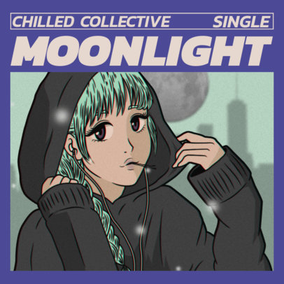 Album Cover Maker for a Chill Music Single with a Lo-Fi Graphic 3140f