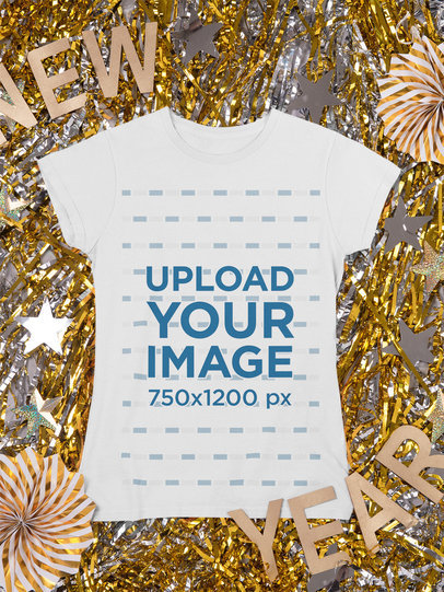 Mockup of a Crewneck T-Shirt Laid over New Year's Eve Decorations m287