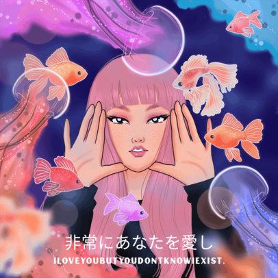 Album Art Maker for Lo-Fi Music Artists Featuring a Female Manga Character 3139f