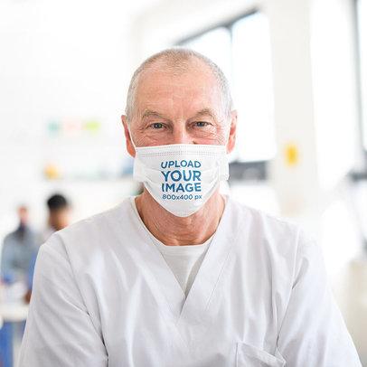 Face Mask Mockup Featuring a Senior Doctor 44893-r-el2