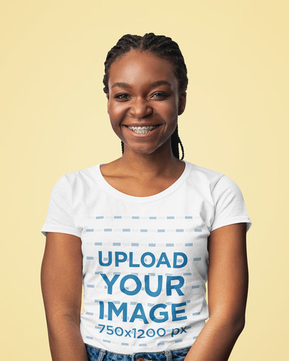 Mockup of a Woman Wearing a Round Neck Tee at a Studio 44649-r-el2