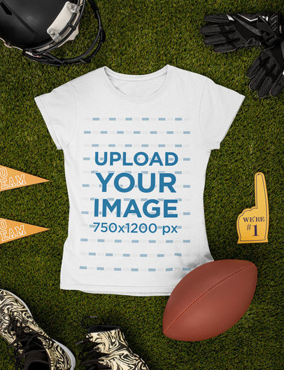 Mockup Featuring a Round Neck T-Shirt Surrounded by Football Equipment m356