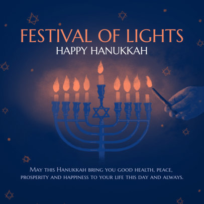 Instagram Post Template for Hanukkah with a Menorah Illustration 3153b