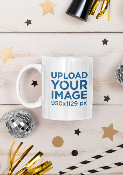 Festive Mockup of an 11 oz Coffee Mug Surrounded By Party Items m275