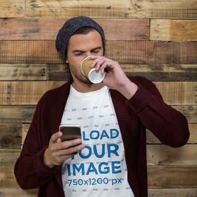 T-Shirt Mockup of a Man Relaxing Drinking Coffee 44797-r-el2