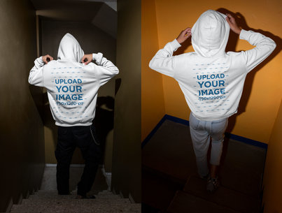 Back View Mockup of a Man and a Woman with Hoodies m620