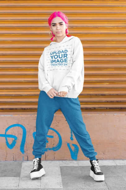 Pullover Hoodie Mockup of a Woman With Pink Hair and an Athleisure Style m417