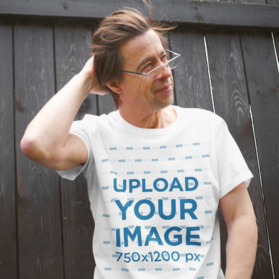 T-Shirt Mockup of a Middle-Aged Man Casually Posing 45047-r-el2