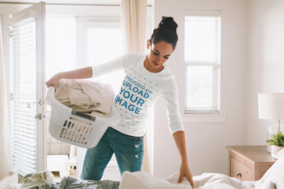 3/4 Sleeve Tee Mockup of a Woman Holding a Laundry Basket 45054-r-el2