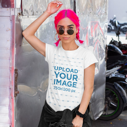 T-Shirt Mockup of a Fierce Woman with Neon-Colored Hair m409