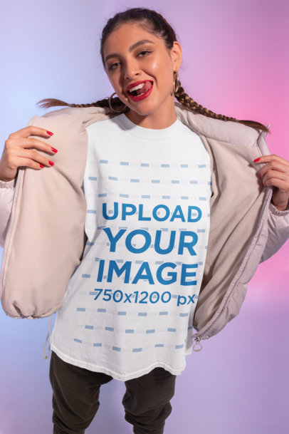 Mockup of a Bold Woman Wearing a Unisex T-Shirt in a Studio M632