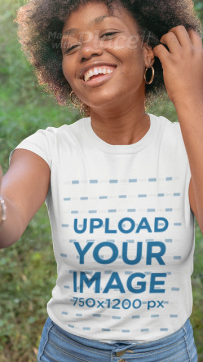 T-Shirt Video of a Woman in Nature Featuring a Parallax Effect 2507
