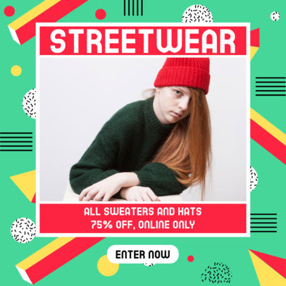 Colorful Ad Banner Template for an Online Streetwear Brand 3173d