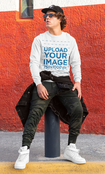 Sweatshirt Mockup Featuring a Man in a Streetwear Outfit m529