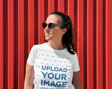 Mockup of a Woman Wearing Sunglasses and a T-Shirt 45104-r-el2