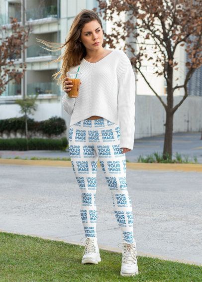Leggings Mockup Featuring a Long-Haired Woman Posing on the Street 32453a