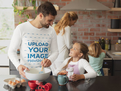 Long-Sleeve Tee Mockup Featuring a Dad Cooking with His Family 44727-r-el2