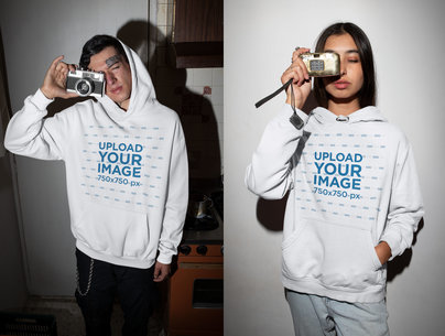 Hoodie Mockup Featuring a Young Woman and Man Taking a Picture m619