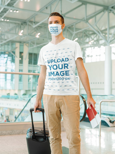 V-Neck Tee Mockup of a Man Wearing a Face Mask at the Airport 43115-r-el2