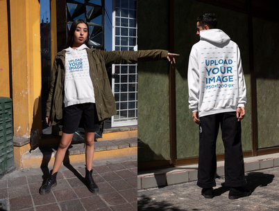 Both-Sides Hoodie Mockup of a Man and a Woman in Trendy Outfits m626