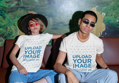 T-Shirt Mockup Featuring a Man and a Woman with a Fierce Style m561