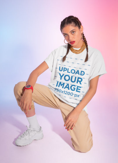 Oversized T-Shirt Mockup of a Woman in a Streetwear Outfit M635