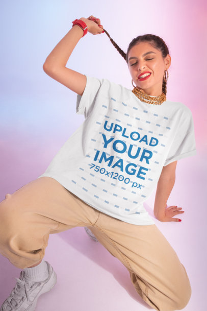 Mockup of a Woman Wearing an Oversized Round Neck Tee M636