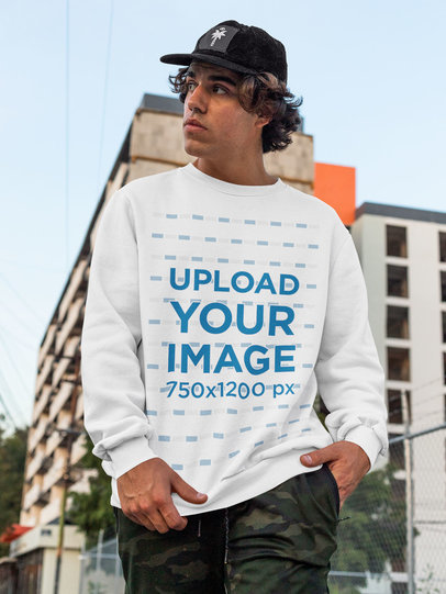 Sweatshirt Mockup Featuring a Cool Man Walking Down the Street m534