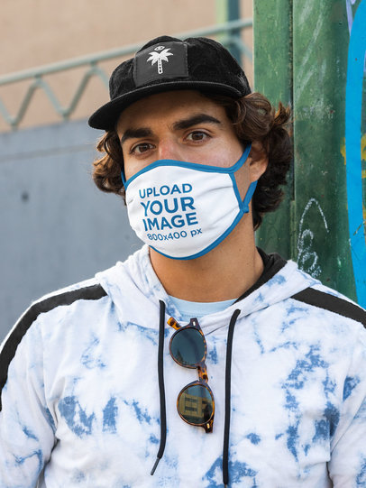 Mockup of a Man Wearing a Face Mask and an Urban Outfit m528