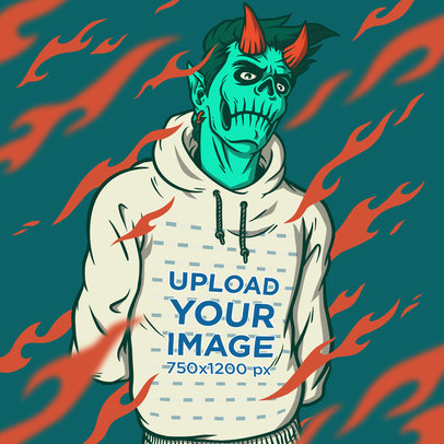Illustrated Mockup of a Fierce Demon Wearing a Hoodie m805