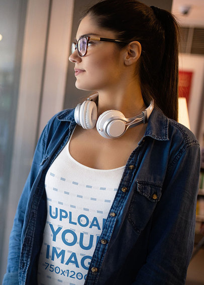Tank Top Mockup of a Woman with Headphones Looking at the Window 41003-r-el2