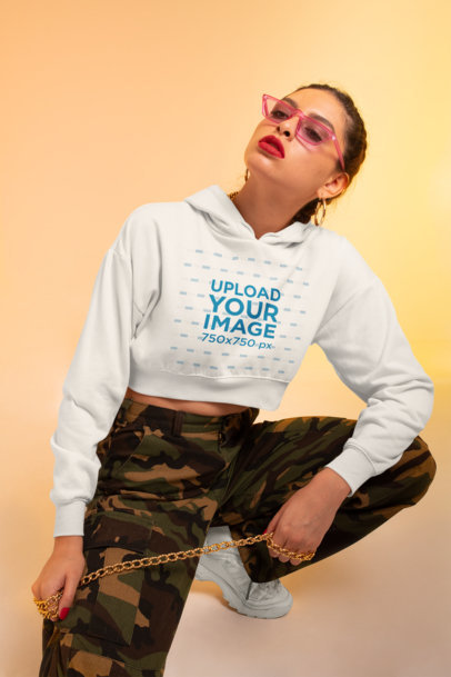 Crop Top Hoodie Mockup Featuring a Woman in a Streetwear Outfit M641