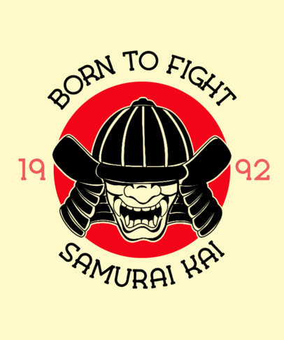 Illustrated T-Shirt Design Template Featuring a Samurai 3202e