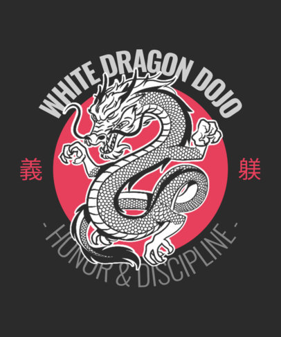 Illustrated T-Shirt Design Template Featuring a White Dragon 3202a