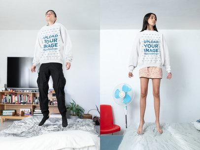 Sweatshirt Mockup Featuring a Man and a Woman Jumping m616