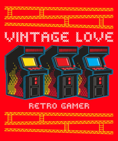 T-Shirt Design Maker with an Ugly Sweater Style for Retro Arcade Fanatics 3212d