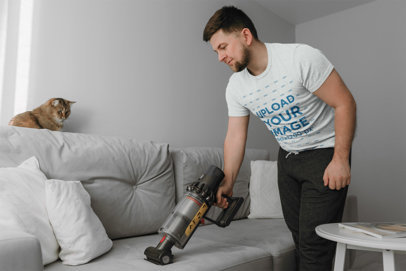 T-Shirt Mockup of a Man Cleaning His Cat's Fur 45252-r-el2
